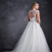Miss Emily+ ME9364 a-line ball gown backside
