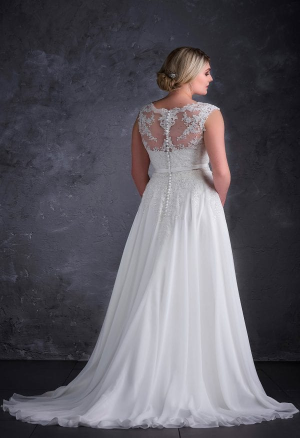 Miss Emily+ ME9385 vintage inspired wedding dress backside