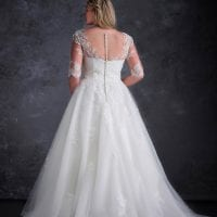 Miss Emily+ ME9362 a-line ball gown with beautiful sleeves backside