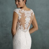 Pure PU9238 mermaid wedding dress with high neckline backside