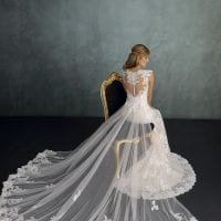 Pure PU9405 mermaid wedding dress backside ambiance picture