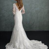 Pure PU9431 long mermaid wedding dress with v-neck and sleeves backside