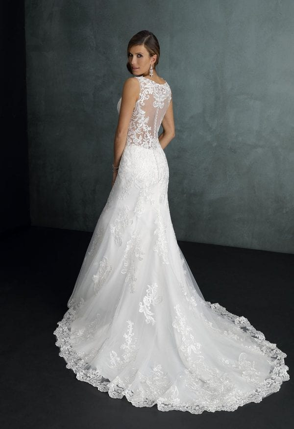 Pure PU9434 long mermaid wedding dress with tulle backside