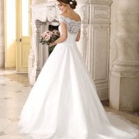 Très Chic SN9264 long a-line wedding dress off the shoulders backside