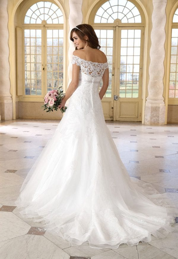 Très Chic TC9281 a-line ball gown off the shoulders backside