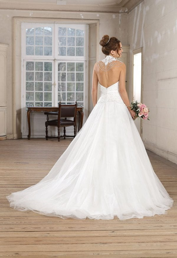 Très Chic TC9372 a-line strapless ball gown backside
