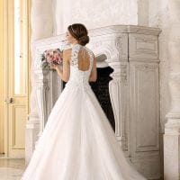 Très Chic TC9276 a-line ball gown with high neckline backside
