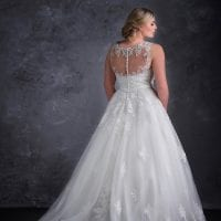 miss emily ME9226 plus size wedding dress long with tule long